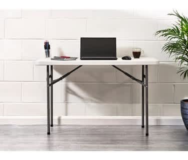 Basics by Mogo | 4ft Plastic Folding Trestle Table, L1220mm x W600mm