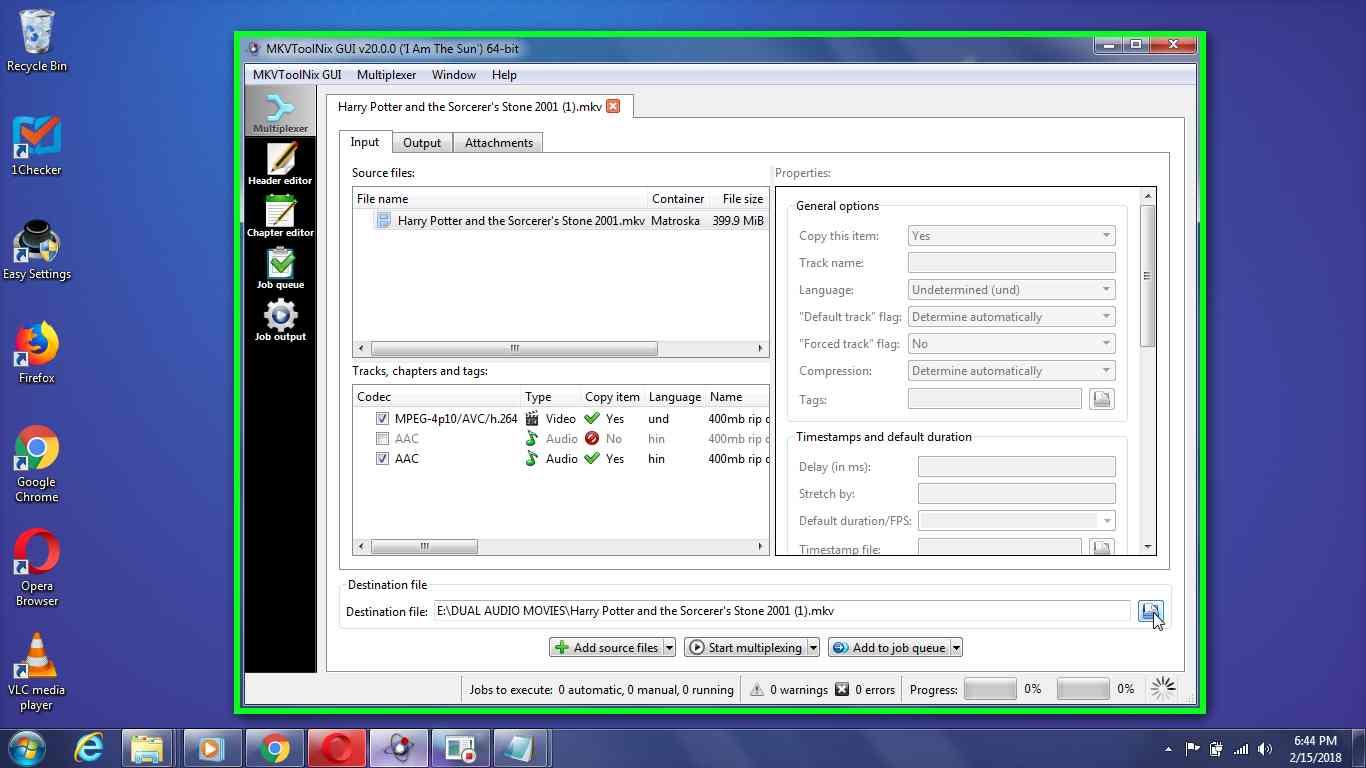 "User left click on ""Destination file (push button)"" in ""MKVToolNix GUI v20.0.0 ('I Am The Sun') 64-bit"""
