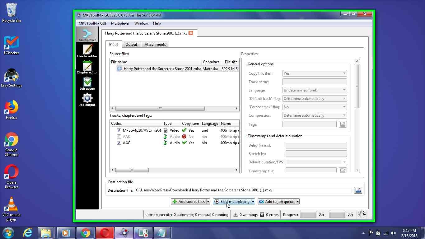 "User left click on ""Start multiplexing Alt+r (menu button)"" in ""MKVToolNix GUI v20.0.0 ('I Am The Sun') 64-bit"""