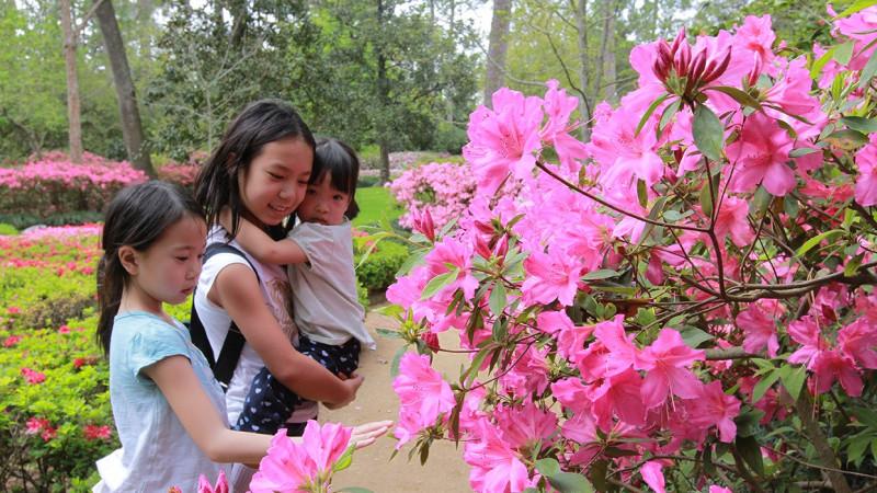 Kids at Bayou Bend Gardens in Houston