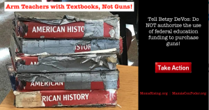 """<a href=""""https://action.momsrising.org/cms/view_by_page_id/8209/"""">Tell DeVos: NO to Spending Education Funding on Guns!</a>"""