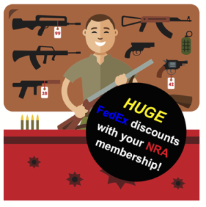 [gun shop owner advertising FedEx discounts for NRA members ]