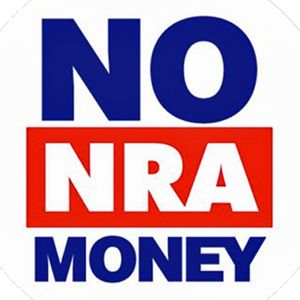 """[The words """"""""NO NRA MONEY"""""""" are in capital letters in blue and red on a white background. ]"""