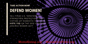 "<a href=""https://action.momsrising.org/cms/view_by_page_id/10163/"">Tell your U.S. Senators to reauthorize the 2019 Violence Against Women Act!</a>"