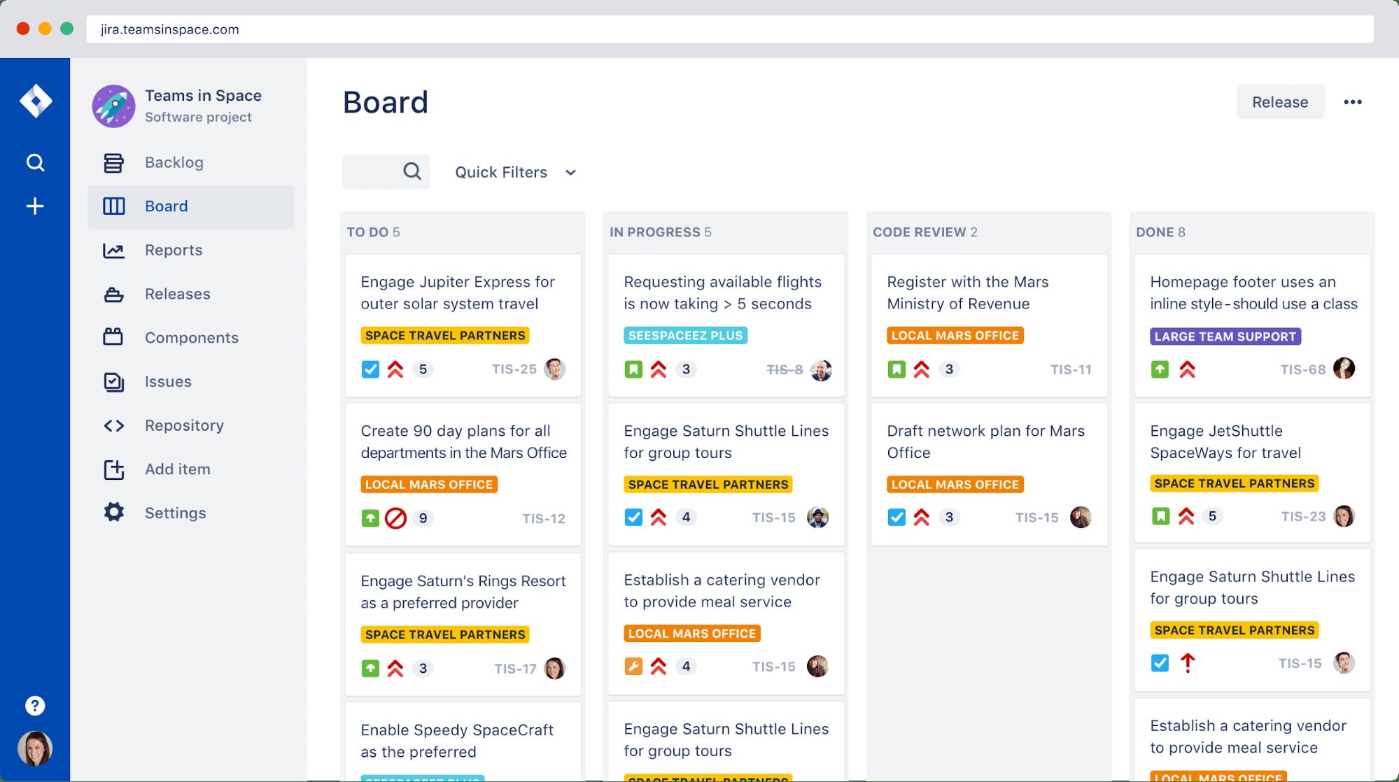 jira board view, from jira's website