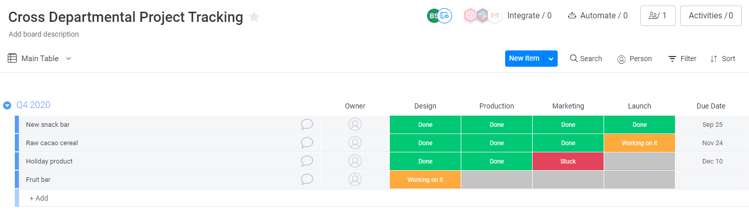 Example of a design task workflow within the monday UI.