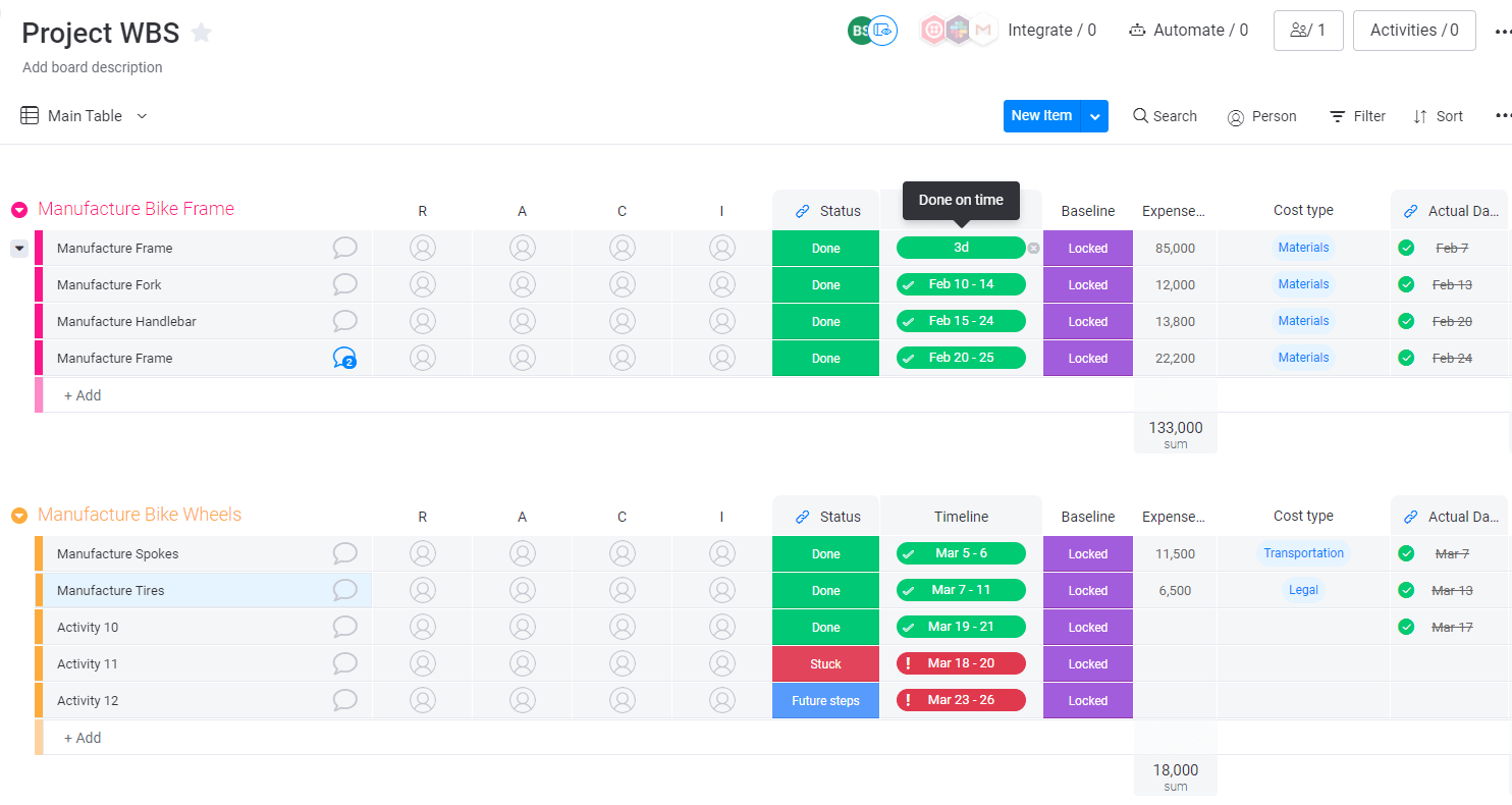 Project WBS example in monday UI.