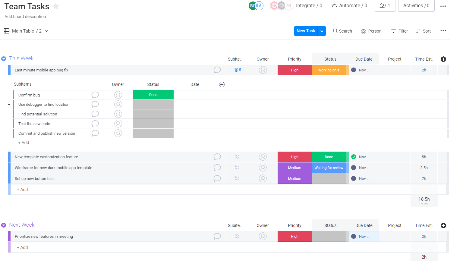 Screenshot of a task board example in monday UI.