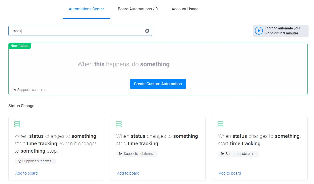 Screenshot of monday time tracking-related automations.