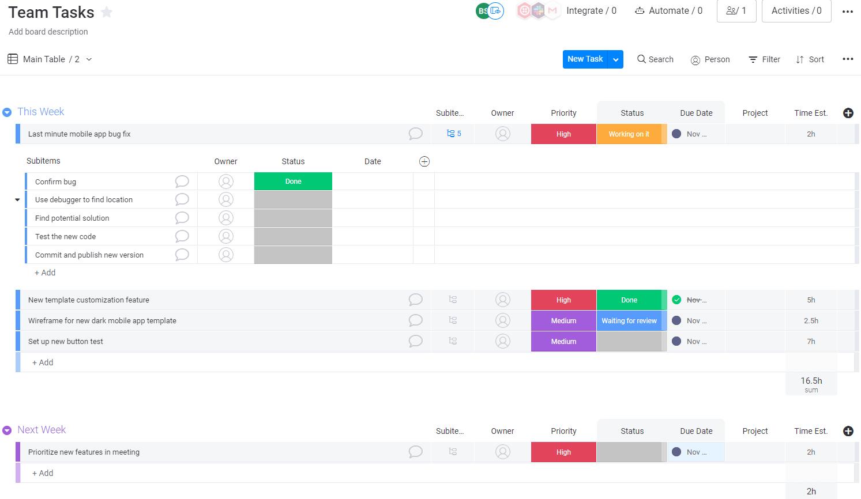 Screenshot of a team tasks board.