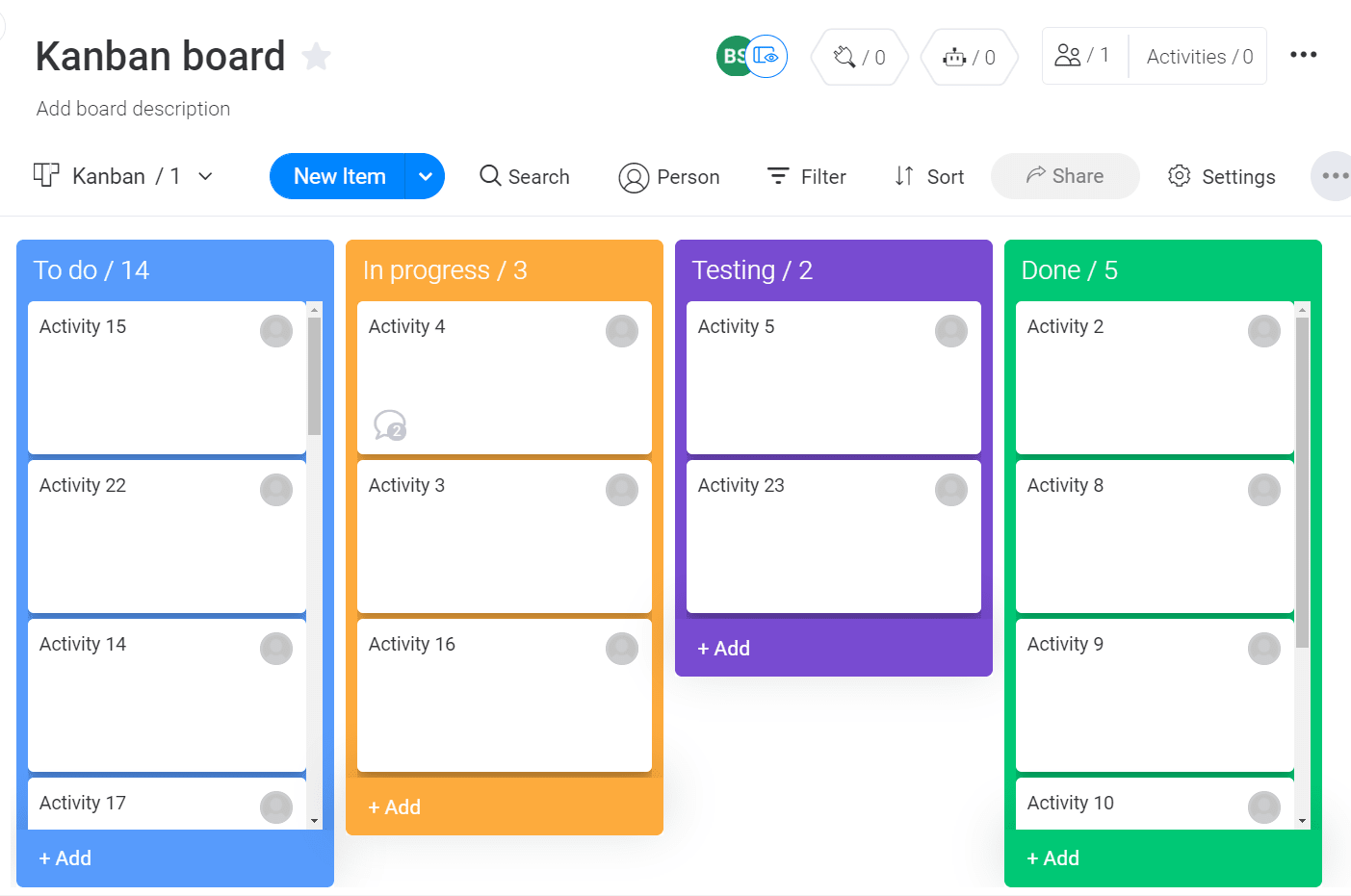 Screenshot of Kanban board template in use in monday UI.
