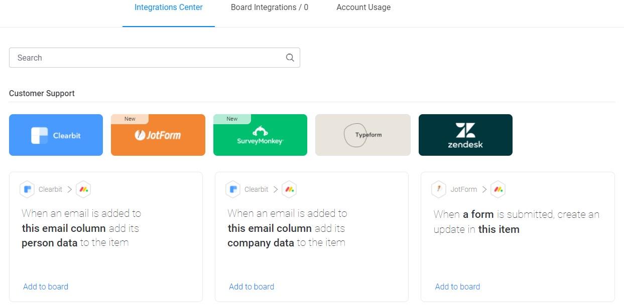 Screenshot of monday customer support integrations.