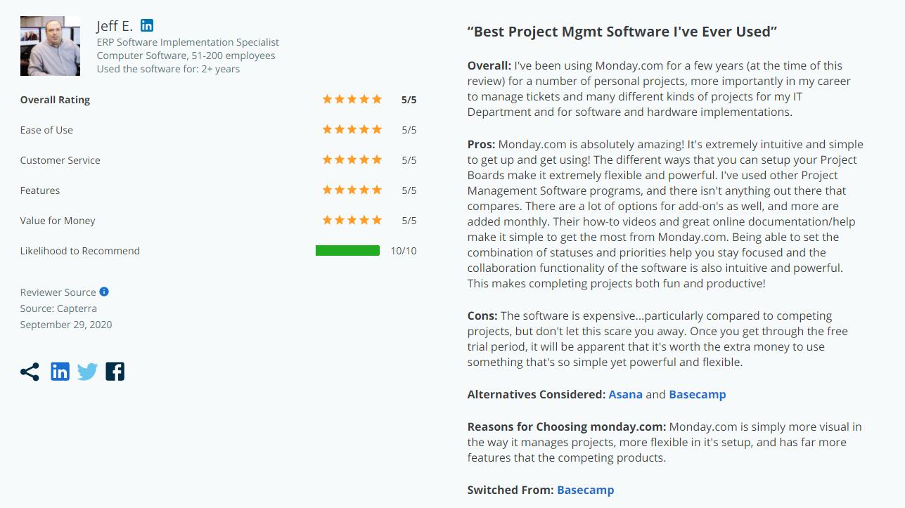 Screenshot of real monday review.