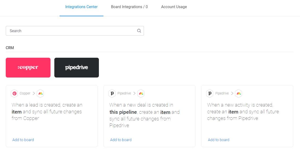 Screenshot of monday CRM integrations.
