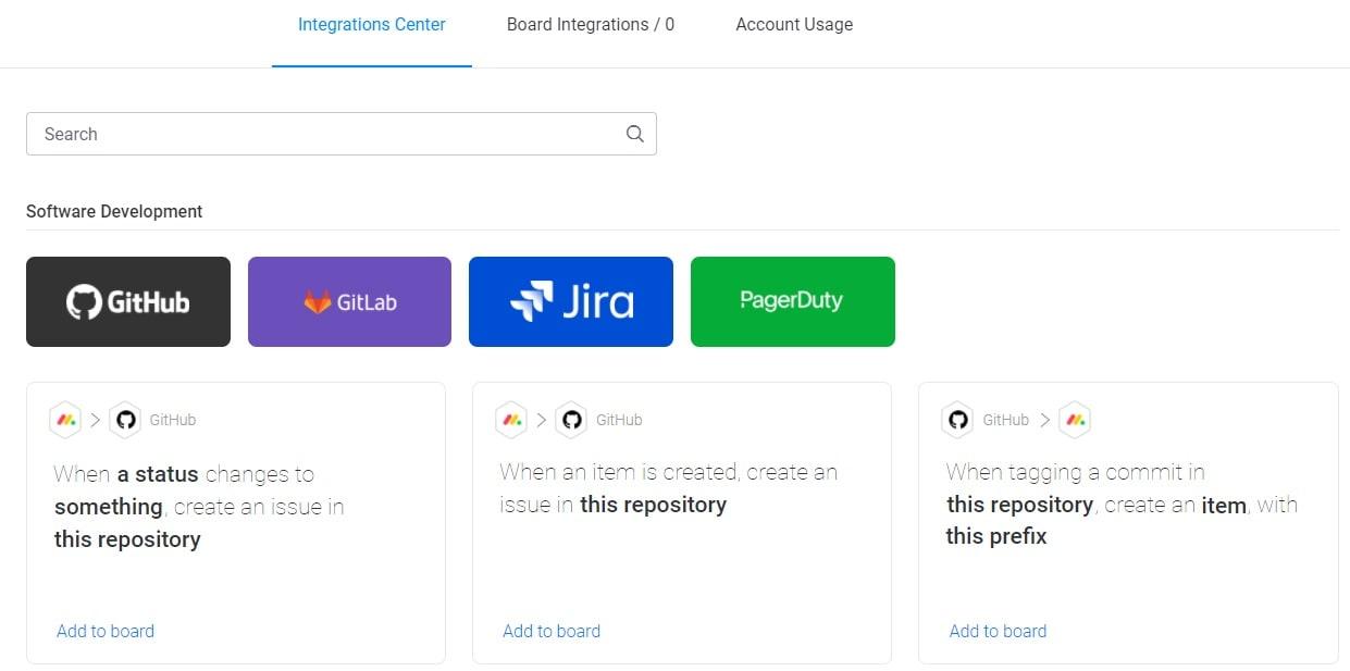 Screenshot of monday software development integrations.