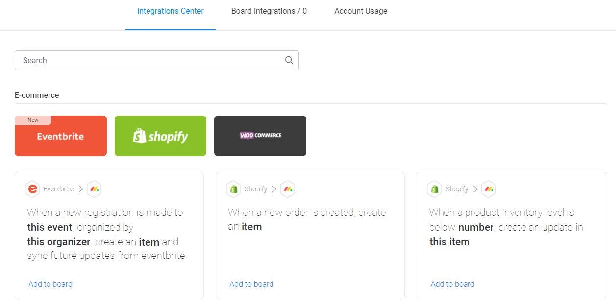 A screenshot of monday e-commerce integrations.