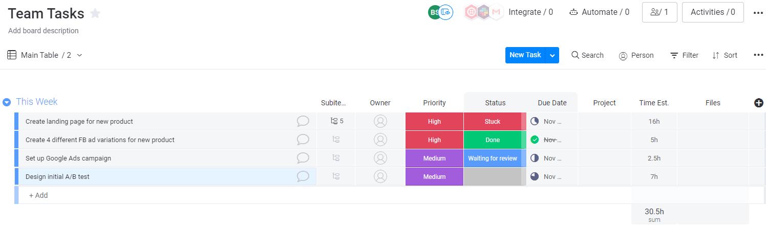 Screenshot of a team tasks board in monday UI.