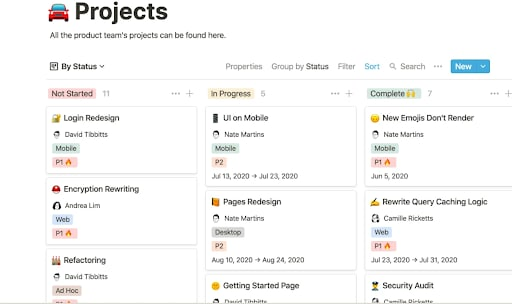 notion projects