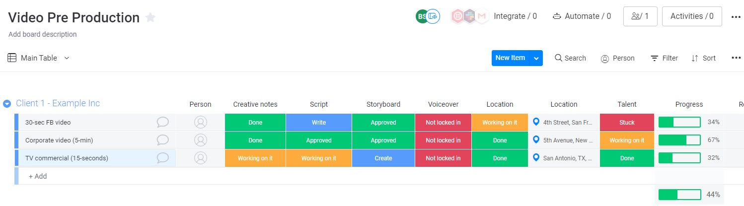 Screenshot of a video pre-production workflow template in the monday UI.