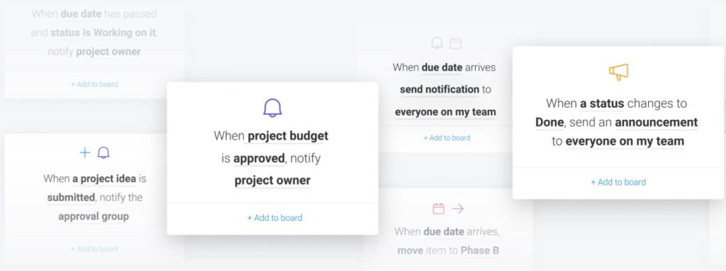screenshot showing automated notification system in monday.com