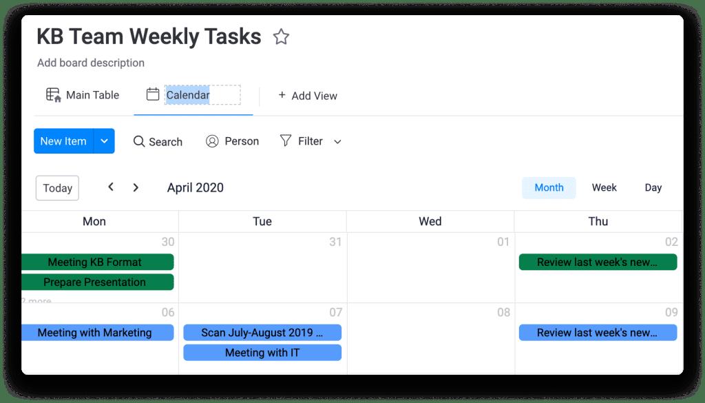 Weekly tasks shown in a weekly calendar