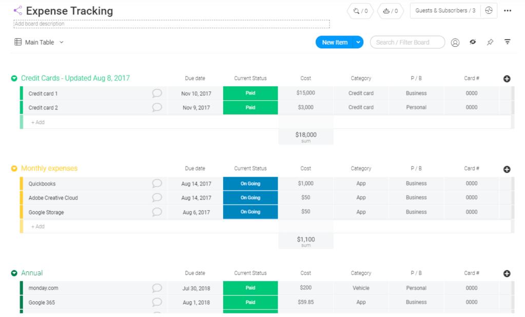 Expense Tracking monday.com
