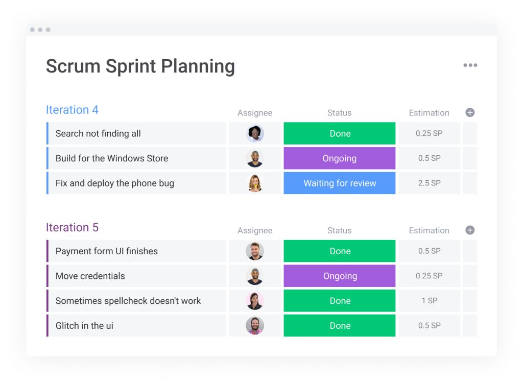 monday.com scrum planning template