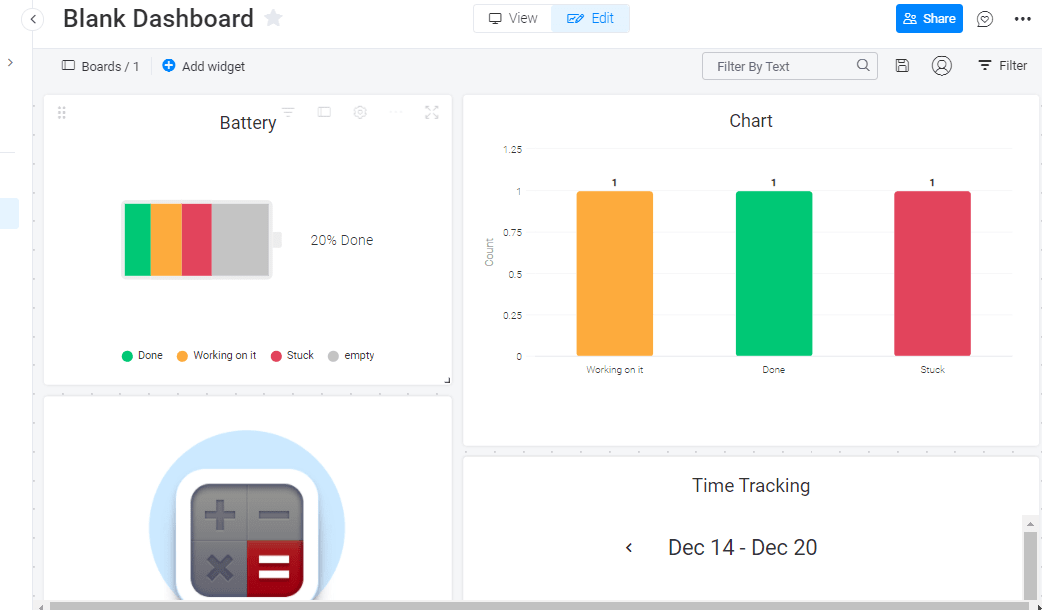 monday.com's dashboard example
