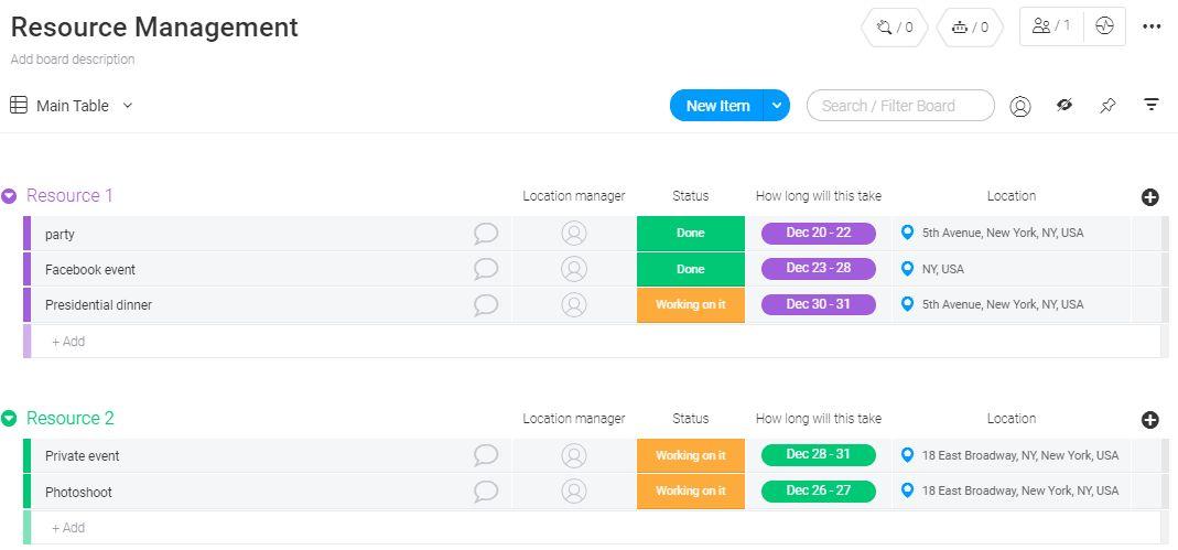 Screenshot of monday resource management template