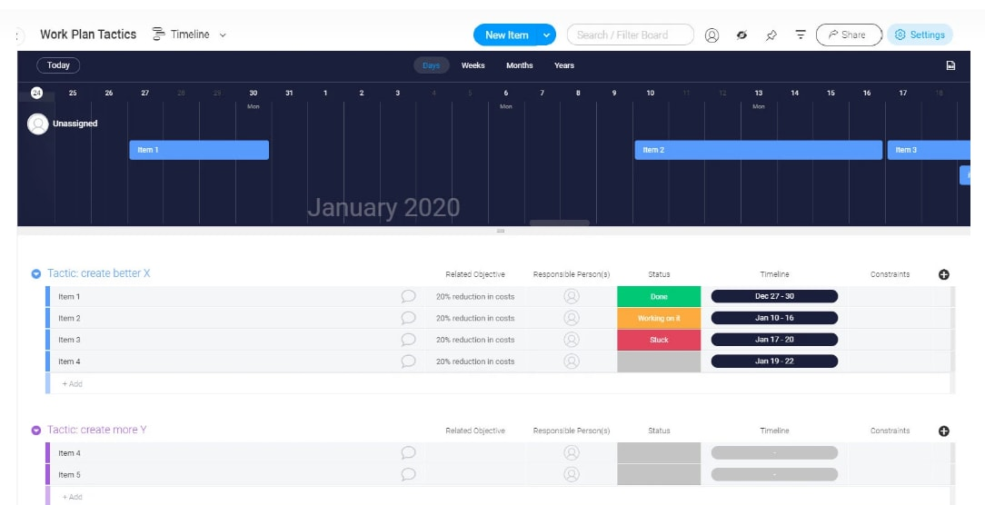 free work planning project template in monday.com