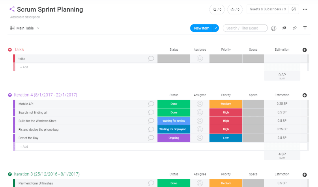 free scrum planning template from monday.com
