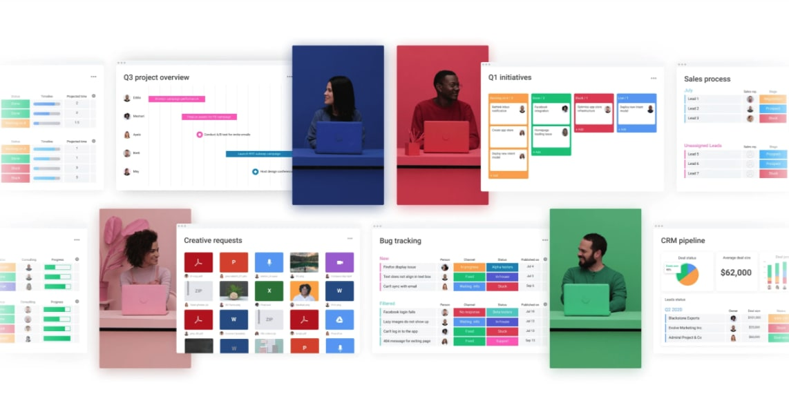 Color-coded employees surrounded by monday.com dashboards