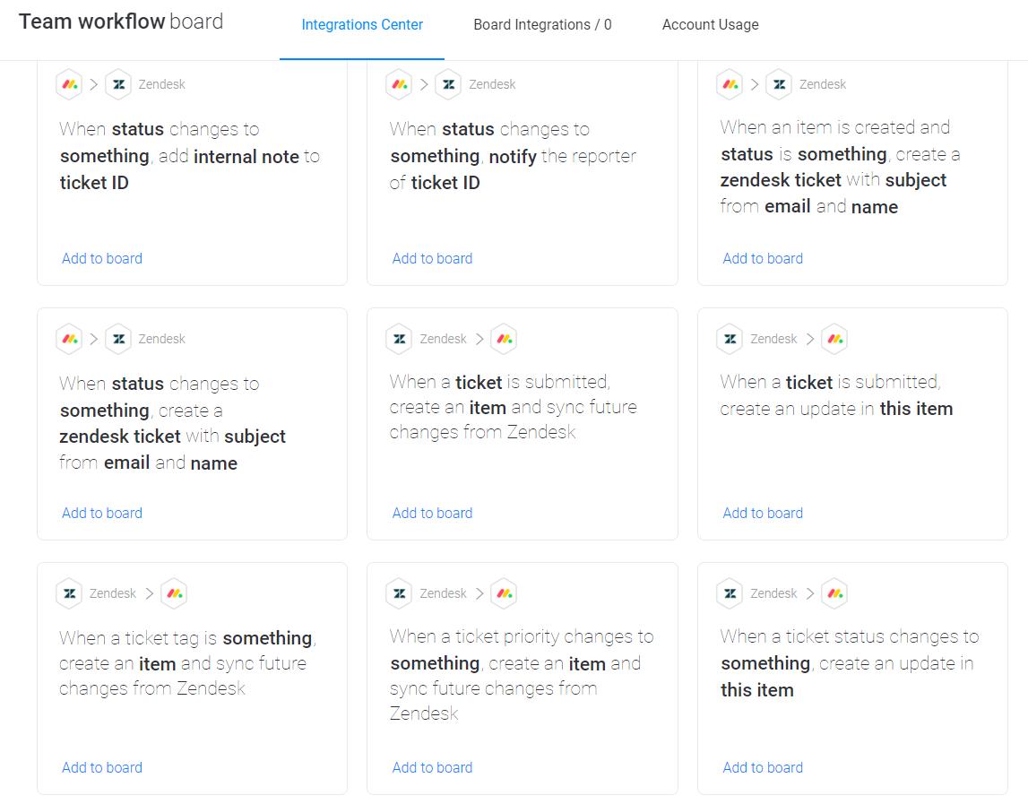 monday.com automations through Zendesk integration