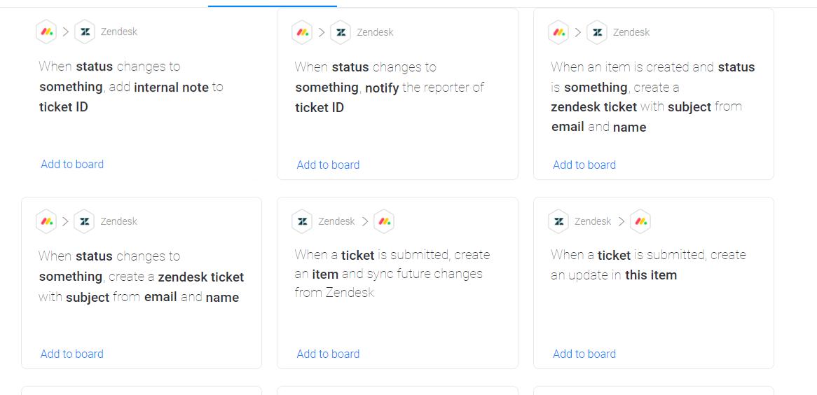 monday.com's integration recipes