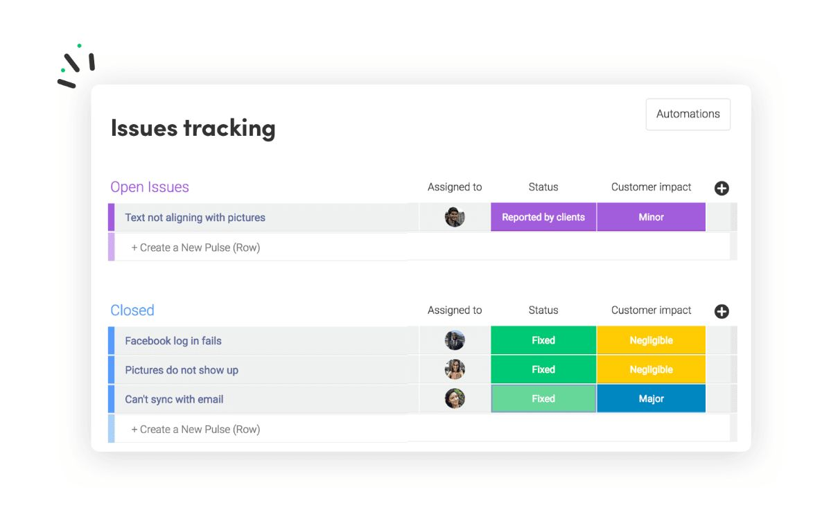 Issue tracking in monday.com