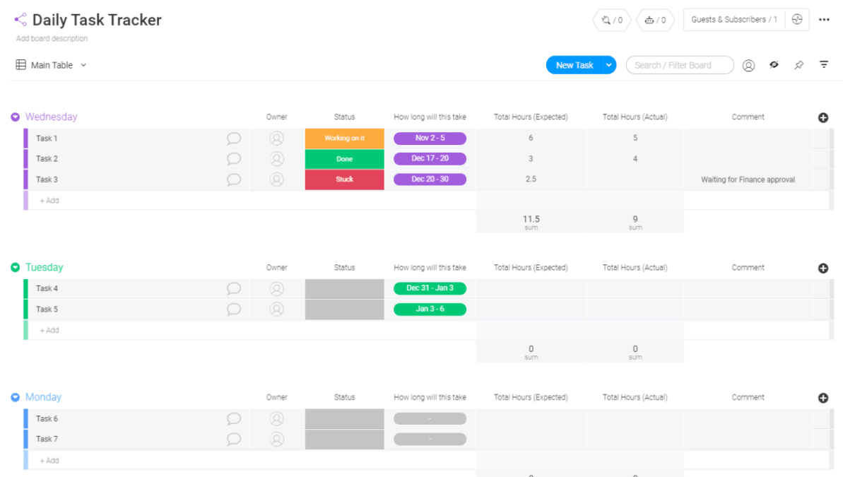 free daily task tracker template from monday.com