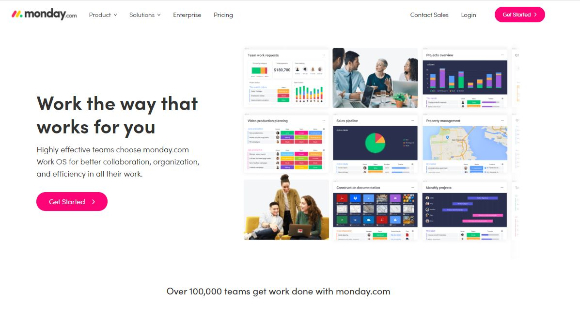 monday.com's home page screenshot