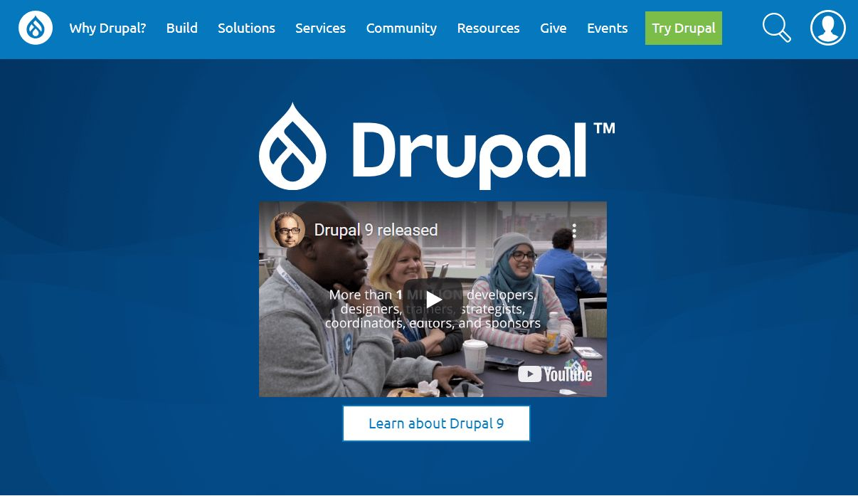 The home page for Drupal, and open sourced content management tool.