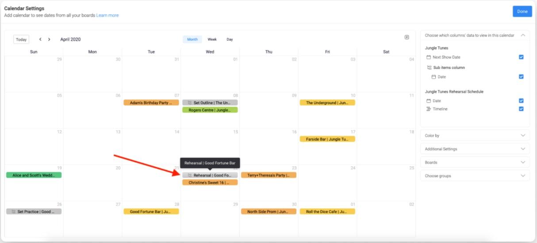 monday.com calendar widget color-coding