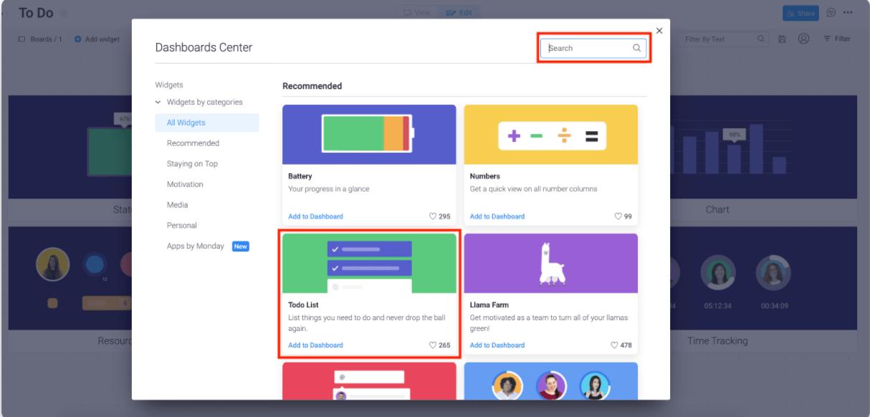 monday.com selecting todo list widget