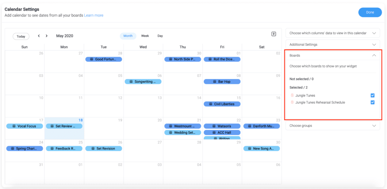monday.com customizing calendar widget