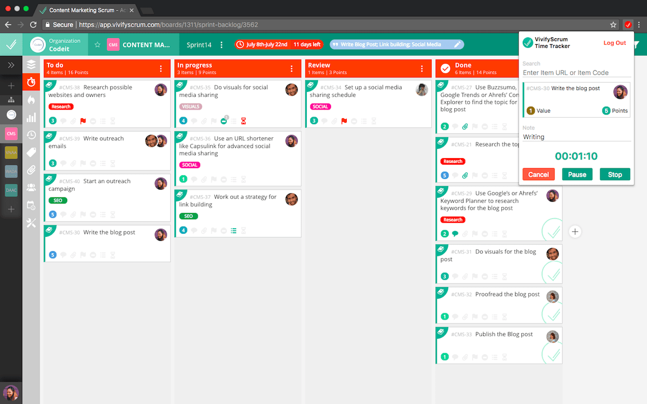 A screenshot showing VivifyScrum kanban