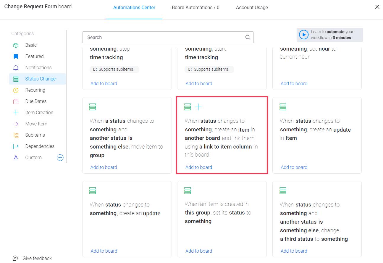 monday.com automation recipes