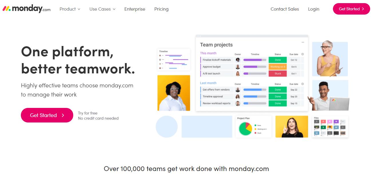 monday.com's home page screenshot