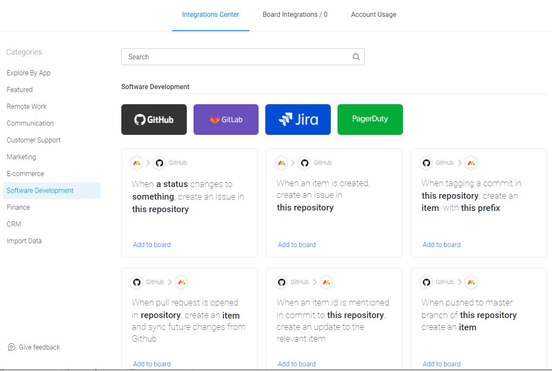 monday.com software development integrations