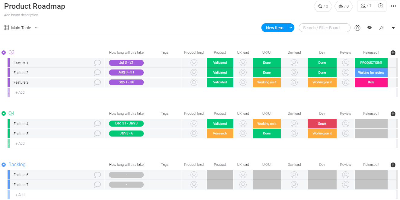 example of a product roadmap in monday.com
