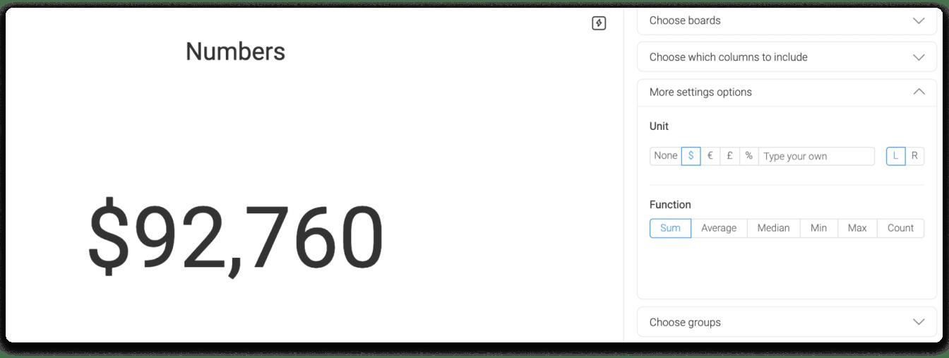 monday.com's numbers widget in action