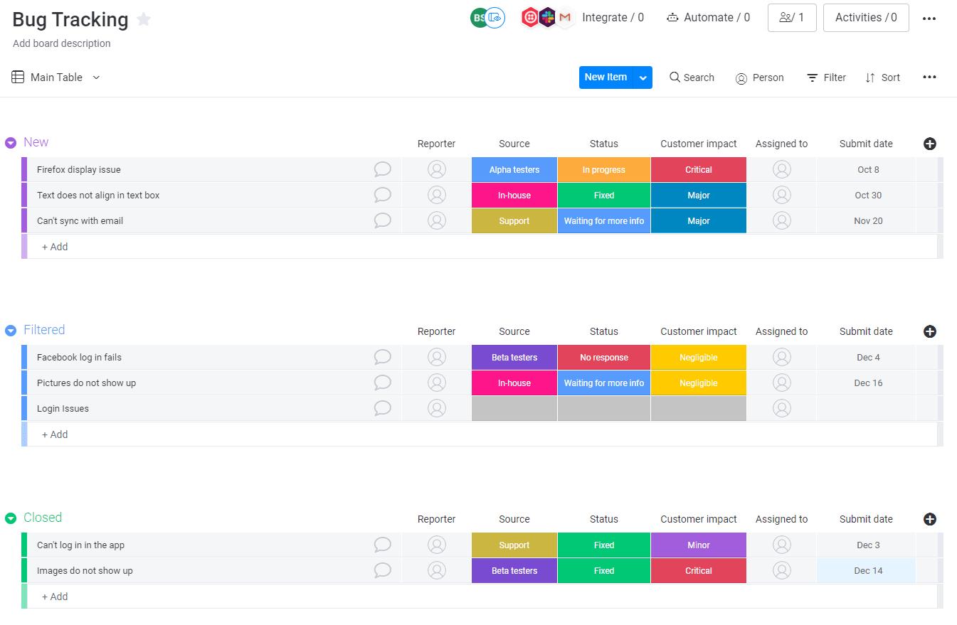 Bug tracking template
