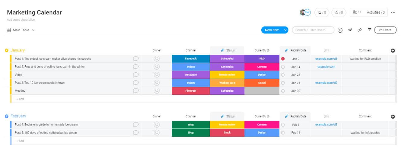 monday.com's marketing calendar