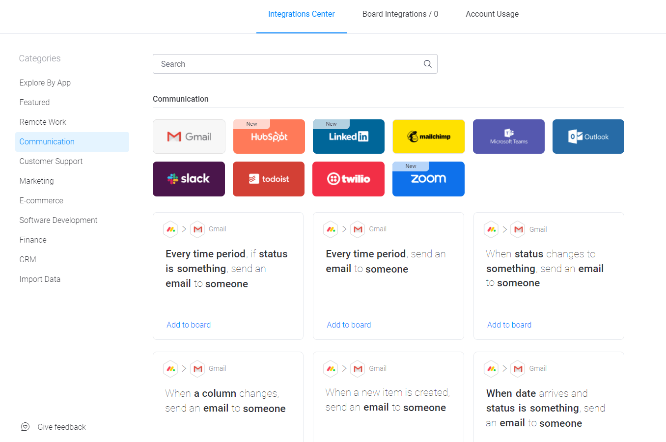 monday.com communication integrations